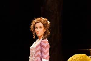 Katherine Kelly (Becky from Coronation Street) who plays Miss Hardcastle in theatre film She Stoops To Conquer.