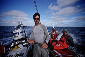 Daryl Wislang driving onboard CAMPER with Emirates Team New Zealand during leg 5 of the Volvo Ocean Race 2011-12, from Auckland, New Zealand to Itajai, Brazil. Photo / Hamish Cooper