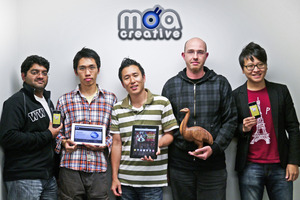Some of the Moa Creative team Nishal Thomas, Charles Wang, Moon Kim, Eugene Bridger, Jay Moon. Photo / Andrew Malcolm