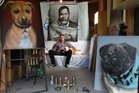 Mr G, Graham Hoete with his dog Honey and dog portraits. Photo / John Borren. 