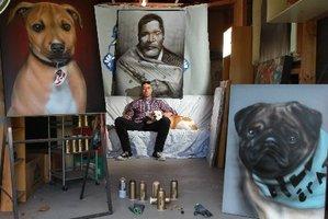 Mr G, Graham Hoete with his dog Honey and dog portraits. Photo / John Borren.