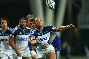 Luke Braid of the Blues looks on during the match against the Highlanders. Photo / Getty Images