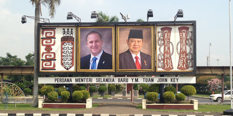 John Key appears on a billboard in Jakarta marking his trade visit to Indonesia. Photo / Supplied