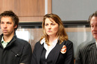 Actor Lucy Lawless in the dock with fellow Greenpeace activists today. Photo / Mark Mitchell