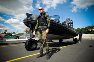 Pete Bethune with his Sealegs vessel. Photo / Jason Dorday