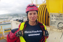 Lucy Lawless during the protest at the Port of Taranaki. Photo / Greenpeace