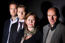 Anders Behring Breivik's legal defence team, including Geir Lippestad (right).  Photo / AP