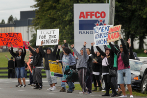 Locked-out meat workers have been protesting across the North Island. Photo / NZ Herald