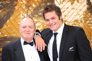 Former All Black coach Sir Graham Henry and All Black Captain Richie McCaw at the Halberg Awards. Photo / Greg Bowker