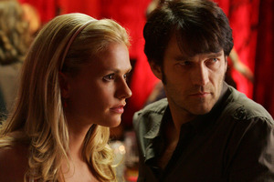 Anna Paquin and husband Stephen Moyer on the set of True Blood. The couple are expecting their first child. Photo / supplied