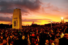 Members of the public turn up for the Anzac Day dawn service at the Auckland War Memorial Museum. Photo / Greg Bowker