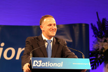 Prime Minister John Key at the National election night party at Sky City. Photo / Janna Dixon