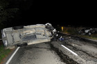 Accident site on SH2, north of Te Karaka. Photo / Gisborne Herald