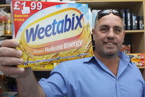 Bob Wren has been threatened with legal action by Sanitarium for selling Weetabix. Photo / Waimea Weekly