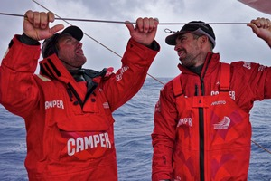 Tony Rae and Stu Bannatyne onboard CAMPER with Emirates Team New Zealand. Photo / Hamish Hooper