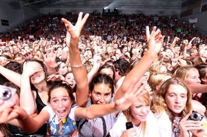 Young girls go crazy as Reece Mastin performs at the Pettigrew Green Arena in Napier. Photo / Glenn Taylor