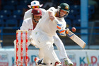 Australia's Michael Hussey plays a hot for six runs during the second day of their second cricket Test match against the West Indies in Port of Spain, Trinidad. Photo / AP