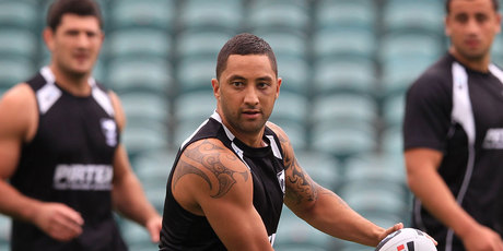 Captain Benji Marshall at the New Zealand Kiwis Rugby League training at North Harbour Stadium. Photo / Greg Bowker.