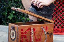 Justin Newcombe's boot box has a wartime flavour. Photo / Natalie Slade