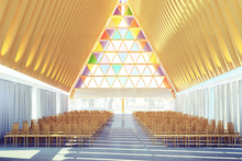 An artist's impression of the inside of Christchurch's temporary cathedral. Photo / supplied