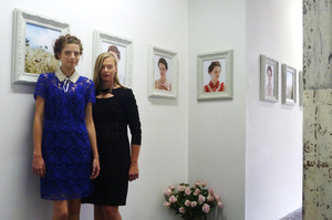 Kate Sylvester (right) at her gallery-based presentation in Sydney. Photo / Supplied