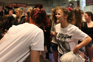 One Direction fans at the pop-up merchandise store in Wellington. Photo / Justin McCabe