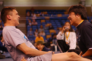 Two men compete in the ear-pulling competition at the World Eskimo-Indian Olympics. Photo / Creative Commons image by Wikimedia user Andrew Otto