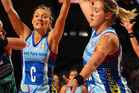 Southern Steel kept cool under pressure in a hectic closing quarter to shut out Canterbury Tactix 55-53. Photo / Getty Images.