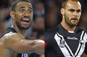 Mika Vukona of the Breakers and Simon Mannering of the Kiwis. Photo / Getty Images