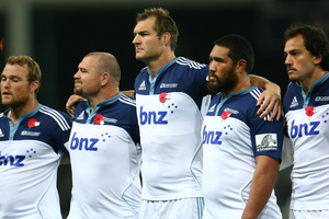 Blues players line up before the round nine Super Rugby match between the Highlanders and the Blues. Photo / Getty Images