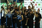 The Breakers celebrate winning their second straight Australian NBL title. Photo / Getty Images