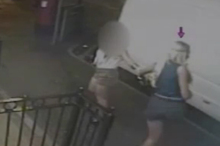 Emily Longley (purple arrow) was shown in video arriving at a cafe after a fight with Elliot Turner.