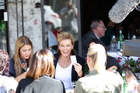 Jaime and Sally Ridge are seen dining at a restaurant in Ponsonby, with a camera crew following their every move. Photo / Doug Sherring