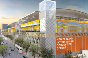 An artist's impression of the proposed convention centre, looking south down Hobson St.