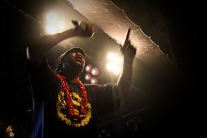 KRS comes bouncing on stage dressed in black, wearing a red ulafala necklace, a fitting adornment for someone with such huge mana. Photo / Milana Radojcic