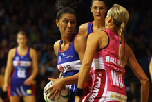 Bailey Mes of the Mystics looks to pass the ball during the round four ANZ Championship match. Photo / Getty Images.