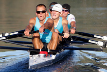 Men's lightweight four Curtis Rapley (front), James Lassche, Duncan Grant, Graham Oberlin-Brown practise on Lake Karapiro. Photo / Christine Cornege 