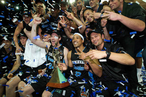 The Breakers celebrate after winning against the Wildcats. Photo / Sarah Ivey