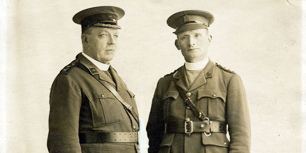 Bishop Henry Cleary (right) with Archbishop Clune in London 1916. Photo / Supplied