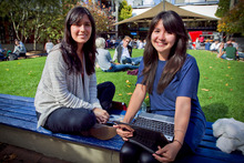 Political science majors Martha Carrillo (left) and Francisca Acuna feel sure they won't be earning six figures. Photo / Natalie Slade 