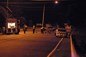 Police at the scene of the hit-and-run in Glenfield Rd. Photo / Michael Craig