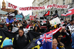 The hikoi moved slowly up Auckland's Queen Street yesterday on its two-week trip from Cape Reinga to Wellington. Photo / Doug Sherring