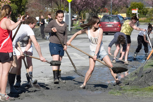 Students rallied in response to the Christchurch earthquake and got stuck in with the clean-up. Photo / Mark Mitchell