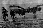 Auckland Infantry troops arrive at Gallipoli at daybreak under heavy shell fire, in the campaign that would later be commemorated on Anzac Day. Photo / Supplied