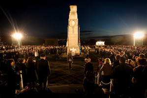 The crowd, of all ages, stood 30 deep at the Auckland Dawn Service. Photo / Natalie Slade