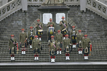The 5WWCT Battalion Pipes and Drums Territorial Force Military Band based in Wanganui could be disbanded. Photo / supplied 
