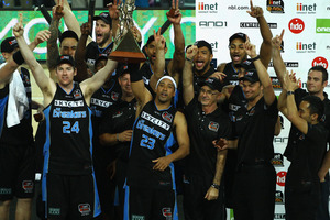 The Breakers celebrate winning the ANBL title on Tuesday night. Photo / Getty Images.