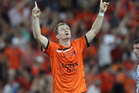 Besart Berisha of the Roar celebrates after scoring a goal during the 2012 A-League Grand Final. Photo / Getty Images.
