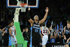 CJ Bruton of the Breakers celebrates a three pointer during game three of the NBL Grand Final series between the New Zealand Breakers and the Perth Wildcats. Photo / Getty Images