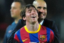 Lionel Messi and Pep Guardiola. Photo / AP 